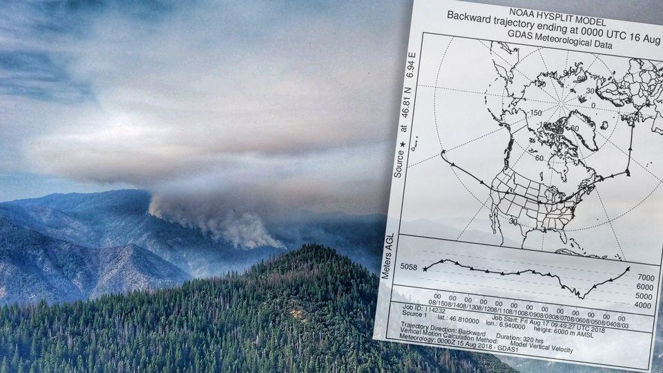 Du parc Yosemite, en Californie, à Payerne, dans le canton de Vaud: les fumées des incendies ont traversé l'Atlantique. [Reuters]