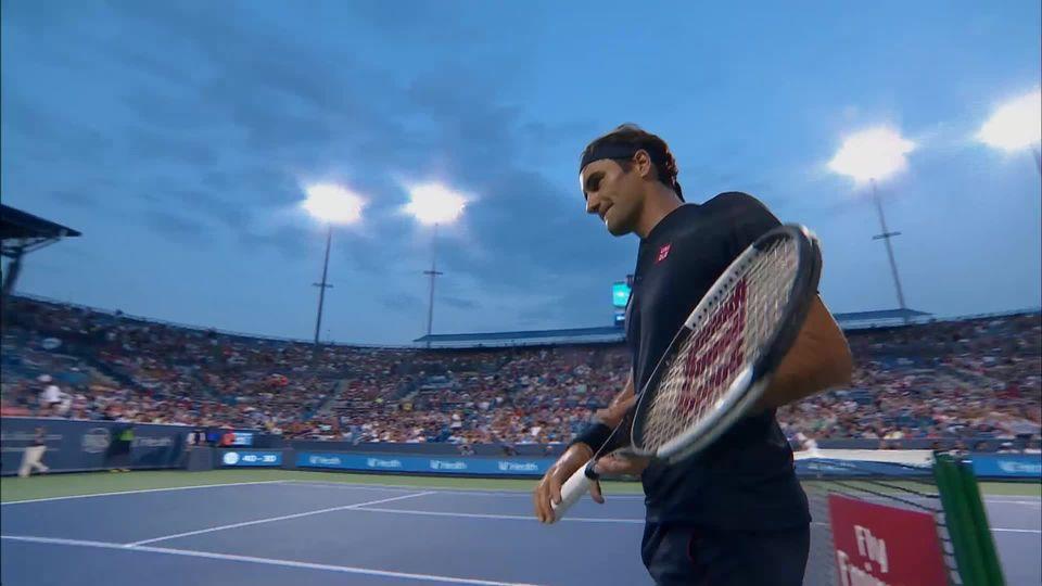 1-2, R.Federer (SUI) - D.Goffin (BE) 7-6, 1-1 : victoire de Federer suite à l'abandon de Goffin [RTS]