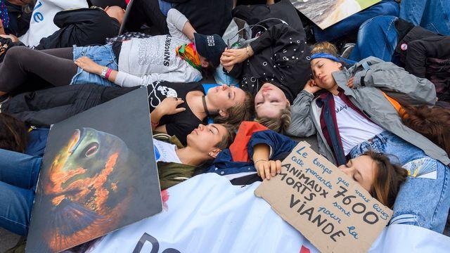 Les militants antispécistes ont fait une halte sur la Pont de la Machine à Genève, où ils se sont allongés sur le sol alors que des cris déchirants d'animaux étaient diffusés. [Martial Trezzini - Keystone]