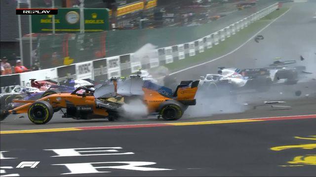 GP de Belgique: Accident spectaculaire dès le premier virage impliquant Alonso (ESP), Leclerc (MON) et Hülkenberg (GER) [RTS]