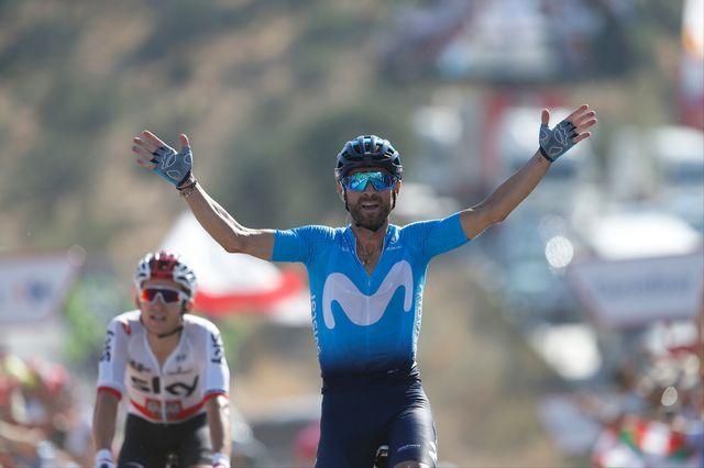 La joie de Valverde après son succès à Caminito del Rey. [Yuzuru Sunada - AFP]
