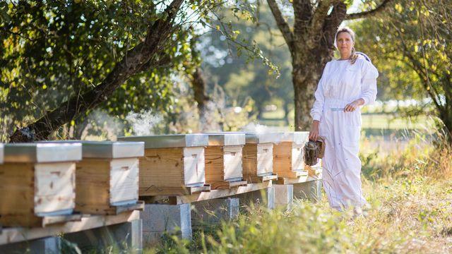 Stéphanie Vuadens et ses ruches. [Stéphanie Vuadens]