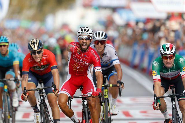 Déjà victorieux de deux étapes en 2014, Bouhanni fête le 3e succès de sa carrière sur la Vuelta. [Yuzuru Sunada - AFP]