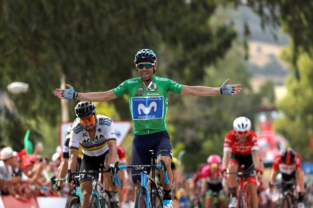 Alejandro Valverde s'est montré le plus fort dans les derniers mètres de l'étape. [Manuel Bruque - Keystone]