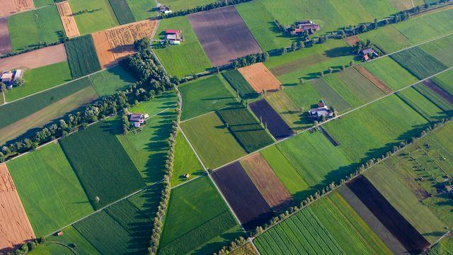 Vue aérienne de champs, de prairies et de cultures dans la vallée du Rhin, dans le canton de Saint-Gall. [Martin Ruetschi - Keystone]