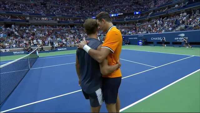 1-2 finale messieurs, R.Nadal (ESP) – J.M.Del Potro (ARG) (6-7, 2-6): mené 2 sets à rien par Del Potro, Rafael Nadal abandonne! [RTS]