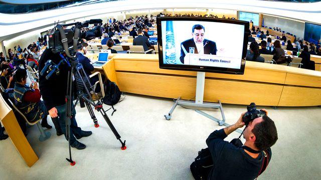 La salle du Conseil des droits de l'homme de l'ONU à Genève. [Valentin Flauraud - Keystone]