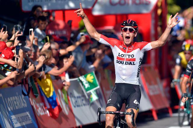 Wallays décroche son premier succès dans un grand Tour. [Ander Gillenea - AFP]