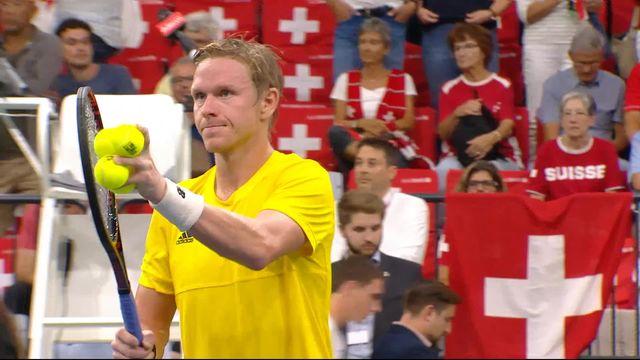 1er simple, Suisse – Suède (6-3, 6-4, 4-6, 6-7, 4-6): mené 2 sets 0, Eriksson s'impose face à Hüsler et ramène un premier point à la Suède [RTS]