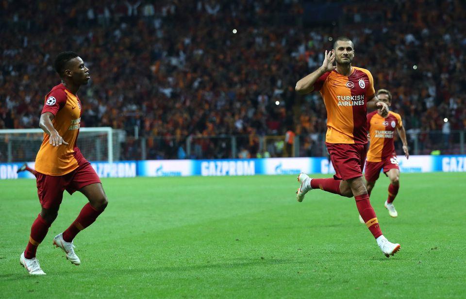 Eren Derdiyok a inscrit le 2-0 pour Galatasaray. [Tolga Bozoglu - Keystone]