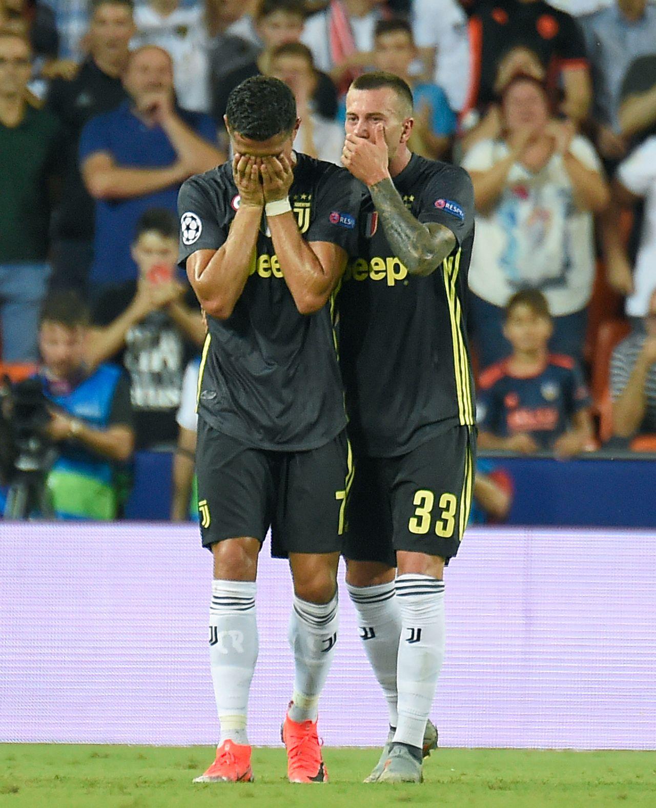 Cristiano Ronaldo n'a pas caché son désespoir. [Jose Jordan - AFP]