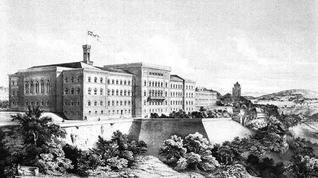 Le premier Palais fédéral à Berne, construit entre 1852 et 1857. [WikiCommons]