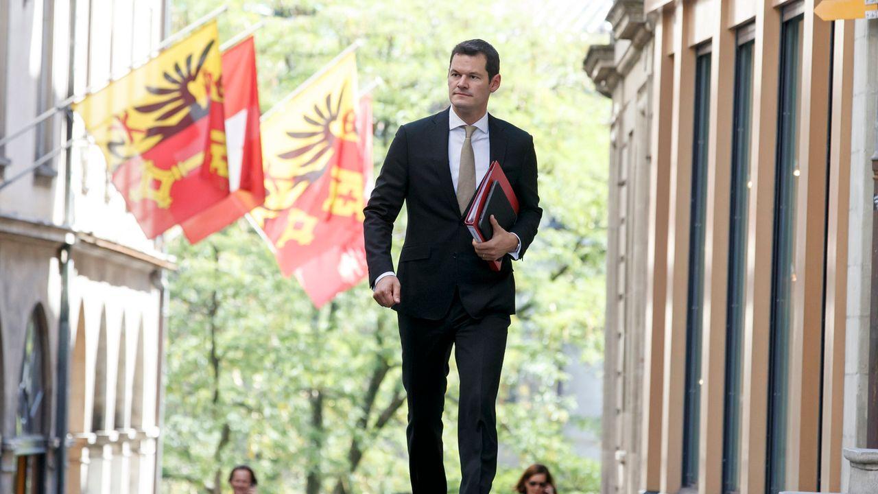Pierre Maudet avant un point presse du Conseil d'Etat début septembre. [Salvatore Di Nolfi - Keystone]