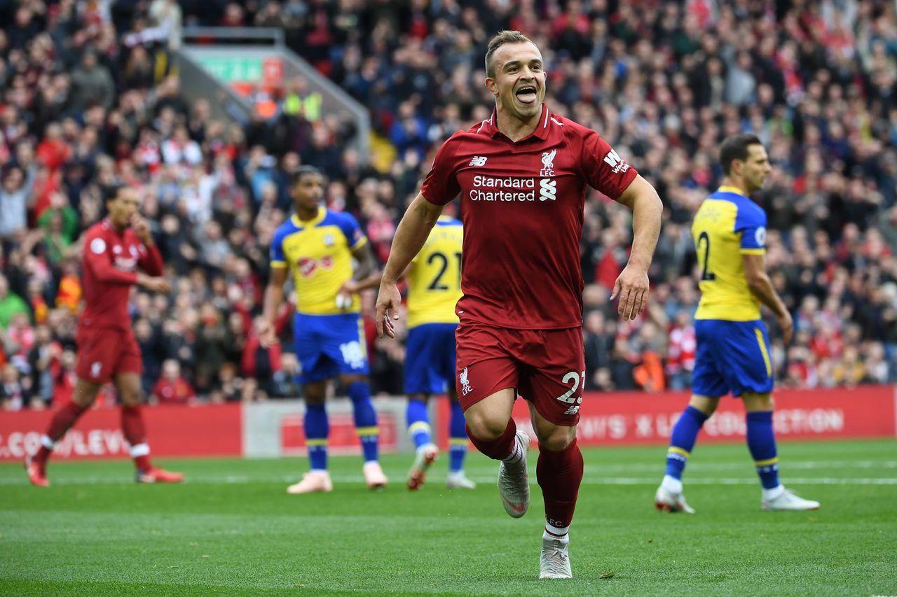 Avec un peu de réussite, Shaqiri a permis à Liverpool d'ouvrir le score. [Paul Ellis - AFP]