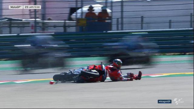 Moto GP, GP d'Aragon: Lorenzo (ESP) chute lors du départ de la course [RTS]