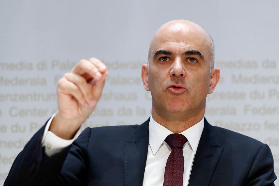 Le conseiller fédéral Alain Berset lors de la conférence de presse sur les primes le 24 septembre 2018.  [Peter Klaunzer - Keystone]