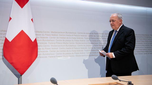 Johann Schneider-Amman vient expliquer sa démission. [Anthony Anex - Keystone]