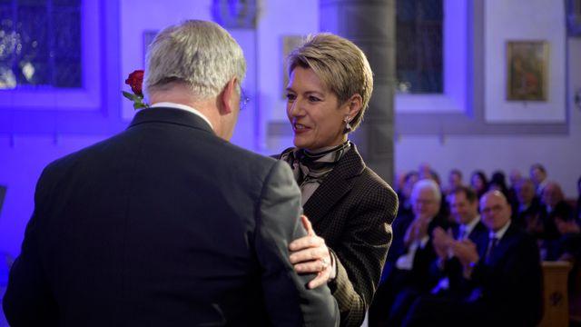 Johann Schneider-Ammann et Karin Keller-Sutter en 2017. [Gian Ehrenzeller - Keystone]