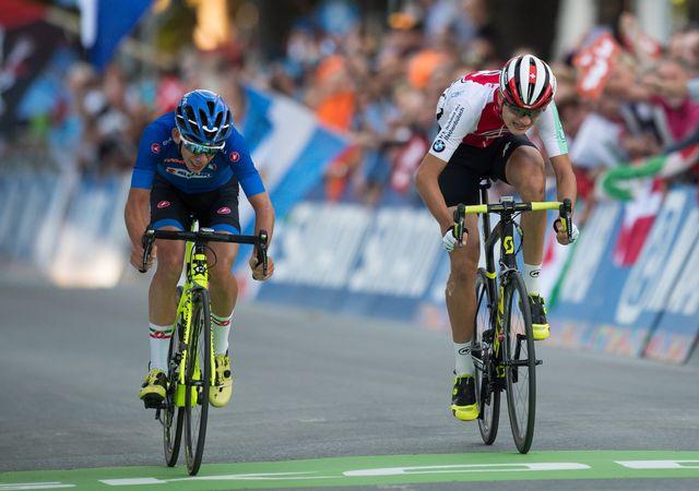 Alexandre Balmer (à droite) s'est incliné d'un rien lors du sprint pour la 3e place. [Daniel Kopatsch - EPA]