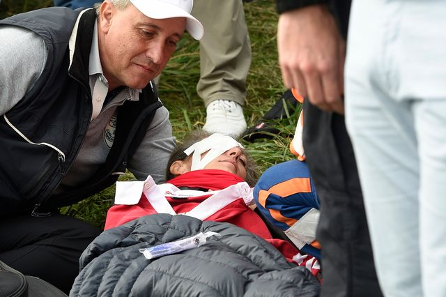 La malheureuse spectatrice a été touchée au visage par une balle. [Gerry Penny - Keystone]