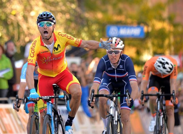 Alejandro Valverde a décroché son premier titre mondial à Innsbruck. [Herbert Neubauer - AFP]
