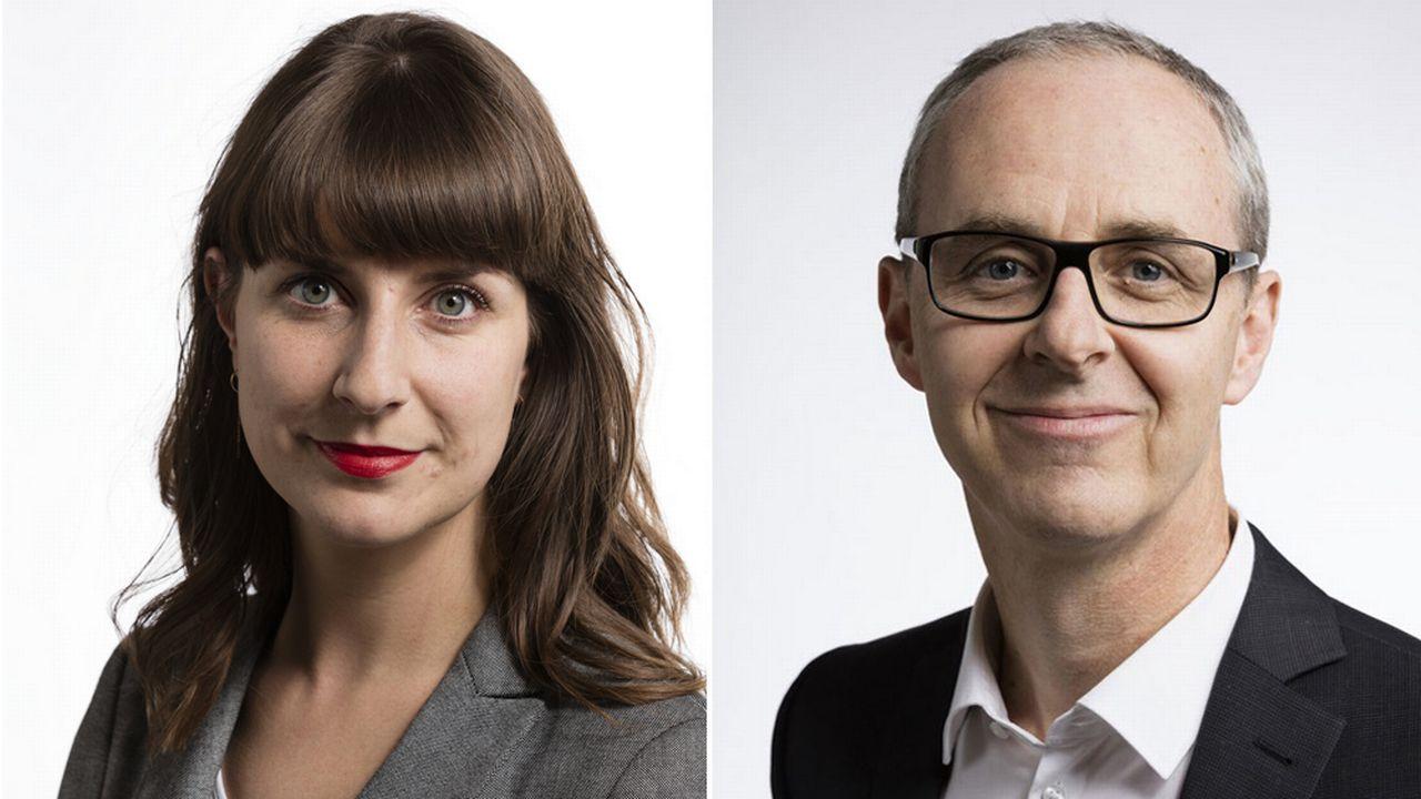 Rebecca Ruiz (PS-VD) et Benoît Genecand (PLR-GE). [Gaetan Bally - Keystone]