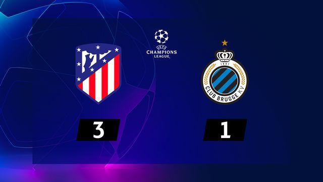 2e journée, Atletico Madrid – Bruges (3-1): l'Atletico s'impose grâce à un doublé de Griezmann