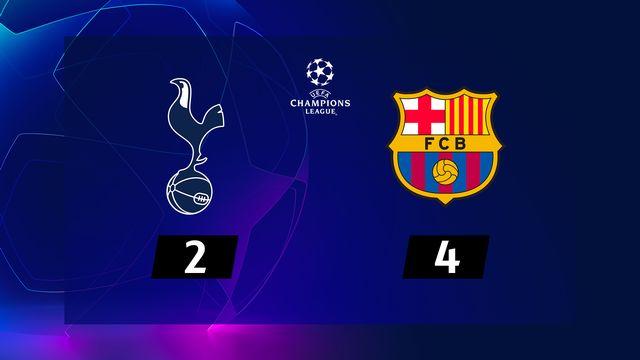 2e journée, Tottenham – Barcelone (2-4): le Barca s'impose à Wembley avec un doublé de Messi