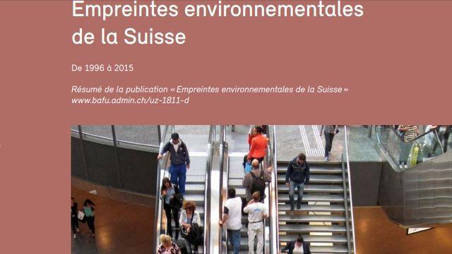 La couverture de l'étude de l'OFEV sur lʹempreinte environnementale de la Suisse. [DR - bafu.admin.ch]