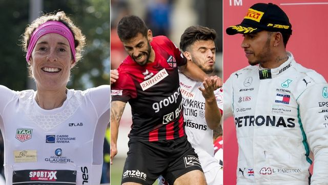 Le top-3 du week-end: Maude Mathys, le FC Sion et Neuchâtel, Lewis Hamilton [A.Anex/J.C Bott/D.Azubel - Keystone]