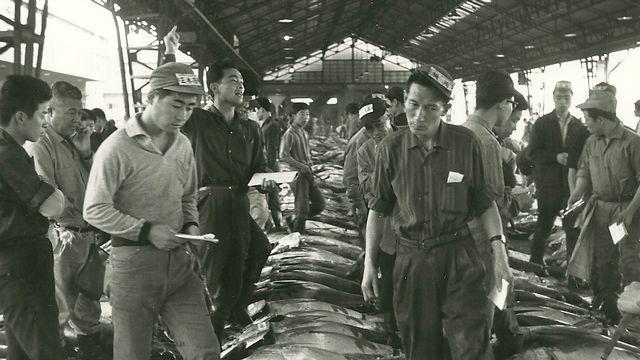 Le marché aux poissons de Tsukuji à Tokyo en 1963. [Jean-Jacques Lagrange - RTS]