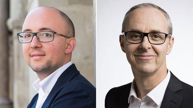 Alberto Mocchi, président des Verts vaudois, et Benoît Genecand, conseiller national (PLR/GE), membre de la commission de l'Environnement. [Cyril Zingaro et Gaetan Bally - Keystone]