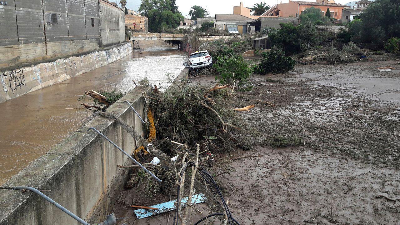 Des inondations ont ravagé Sant Llorenc, en Espagne, mercredi 10 octobre 2018, tuant au moins neuf personnes et causant la disparition de six individus. [Joan Llado - Keystone/AP]