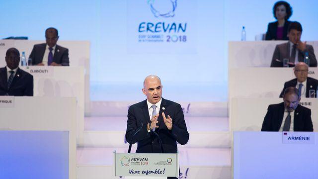 Alain Berset lors de son intervention au sommet de la Francophonie. [Peter Klaunzer - Keystone]