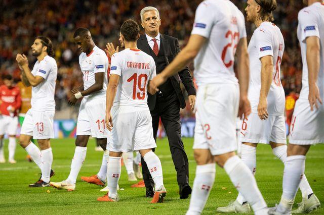 Défaite de l'équipe de Suisse malgré un bon match en Belgique. [Ennio Leanza - Keystone]