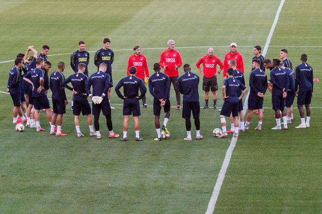 L'équipe de Suisse en session d'entraînement. [Geert Vanden Wijngaert - Keystone]