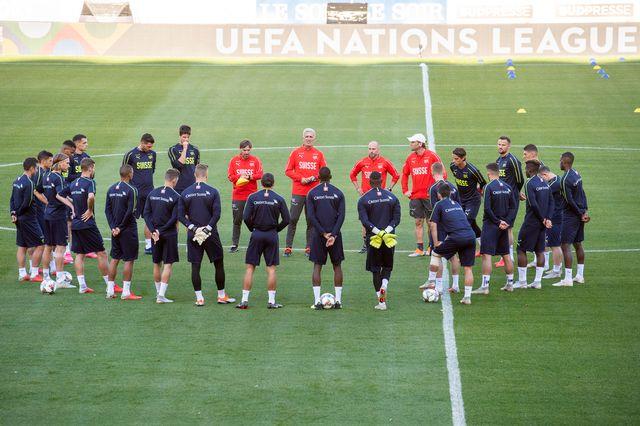L'équipe suisse à l'entraînement. [Ennio Leanza - Keystone]
