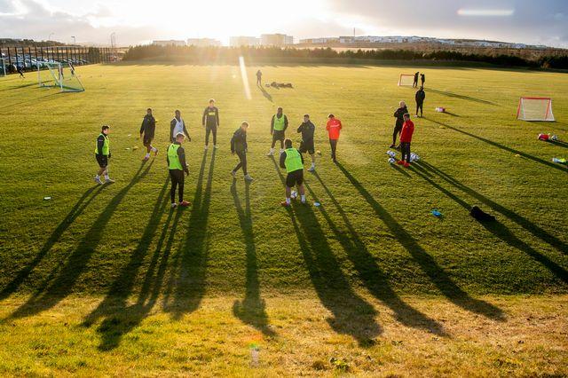 L'équipe de Suisse en entraînement à Reykjavik, samedi 13 octobre. [Ennio Leanza - Keystone]