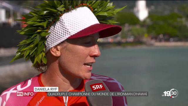 Championne du monde pour la quatrième fois, Daniela Ryf a remporté l'Ironman d'Hawaï en pulvérisant son record. [RTS]