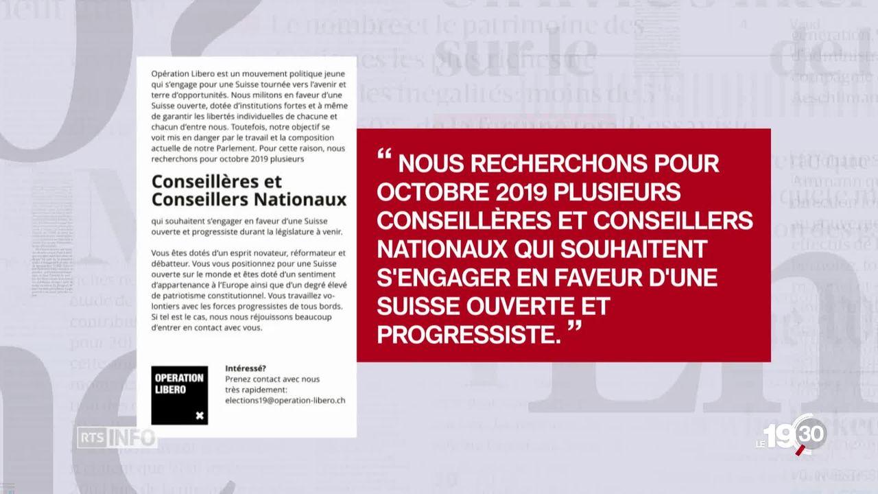 Un mouvement politique suisse publie des petites annonces pour rallier des parlementaires à leur cause [RTS]