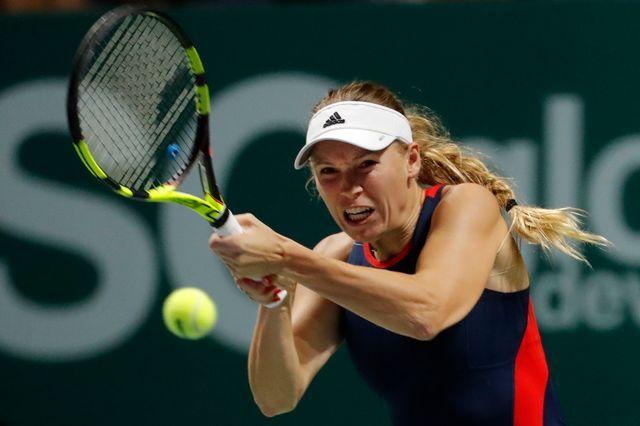 Wozniacki a gagné son premier match du Masters de Singapour 2018. [Vincent Thian - Keystone]