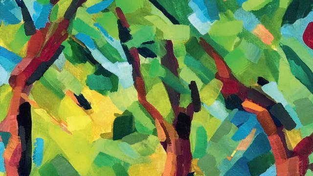 Peinture illustrant la couverture de l'édition littéraire spéciale éditée par le Journal forestier suisse pour les 175 ans de la Société forestière suisse. [Copyright - Susann Allgaier]