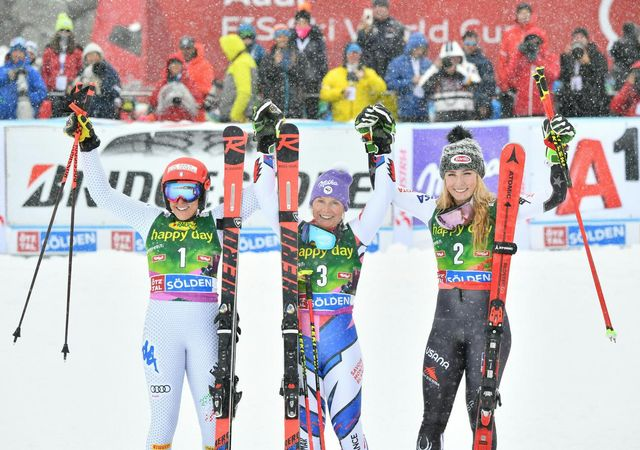 Le premier podium de la saison à Sölden. [Barbara Gindl - Keystone]