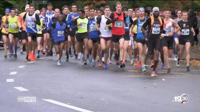 Le marathon de Lausanne accueille de plus en plus de participants étrangers. [RTS]