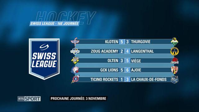 Swiss League, 16e journée: classement et résultats [RTS]