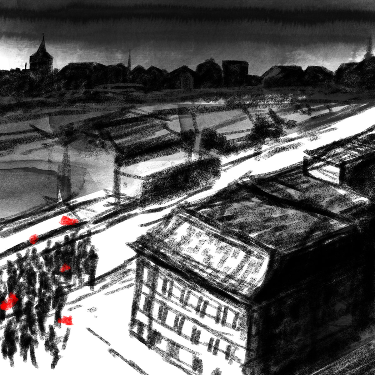"Illustration de ""Hanna la Rouge"", la fiction interactive d'Anita Hugi et de David Dufresne."