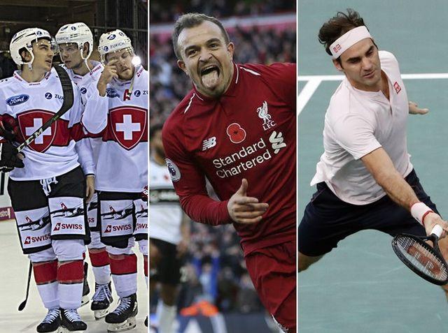 Le top-3 du week-end: l'équipe de Suisse, Xherdan Shaqiri et Roger Federer. [G.Kefalas/B.Coombs/T.Camus - Keystone]