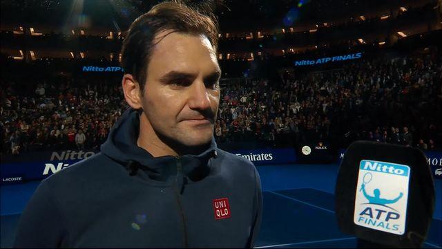 Round Robin, R.Federer (SUI) bat D.Thiem (AUT) (6-2, 6-3): l'interview de Federer à la fin du match [RTS]