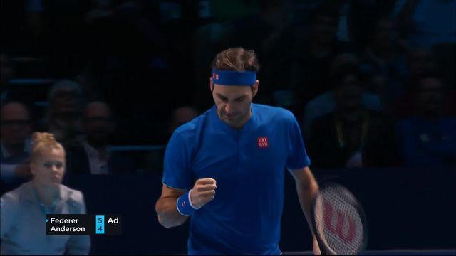 Round Robin, R.Federer (SUI) - K.Anderson (RSA) (6-4): Federer gagne le premier set [RTS]