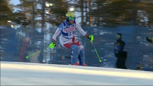 Levi (FIN), Slalom dames, 1re manche: le passage de Carole Bissig (SUI) [RTS]